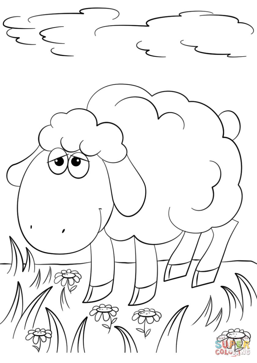 cute cartoon lamb coloring page  free printable coloring