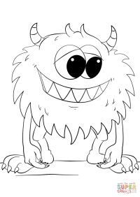 Cute Cartoon Monster coloring page | Free Printable ...