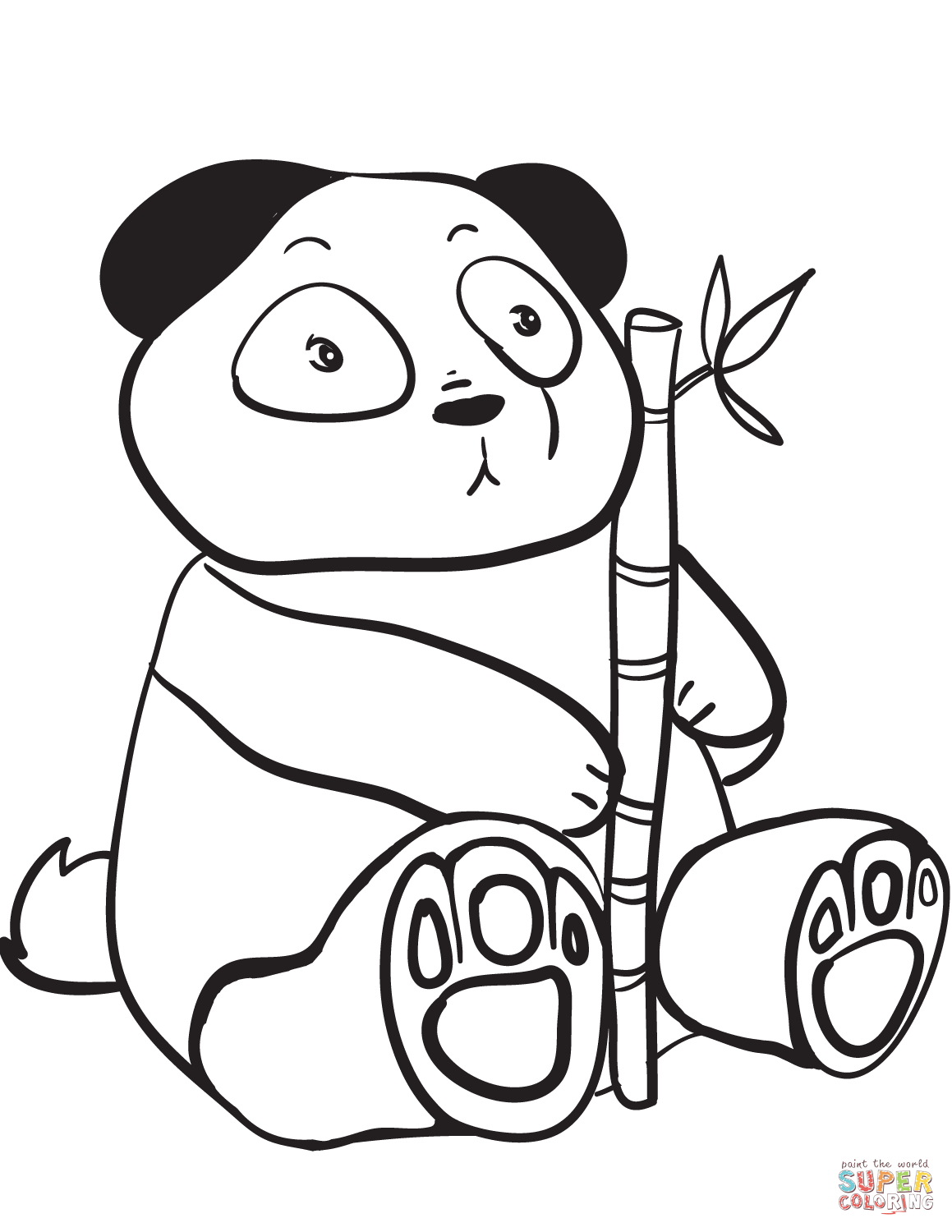 Cute Panda Holding A Bamboo Branch Coloring Page