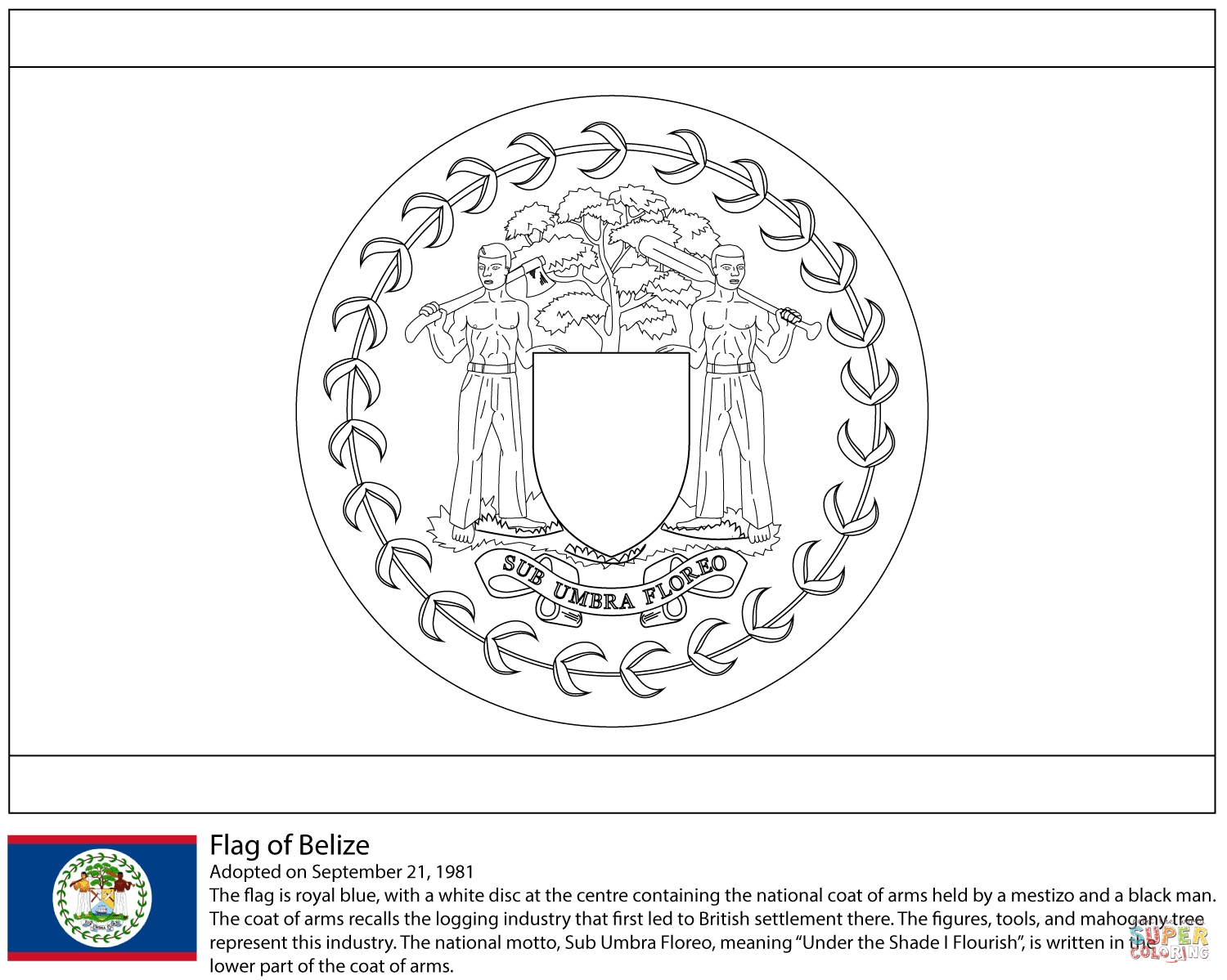 Belize Flag Coloring Pages