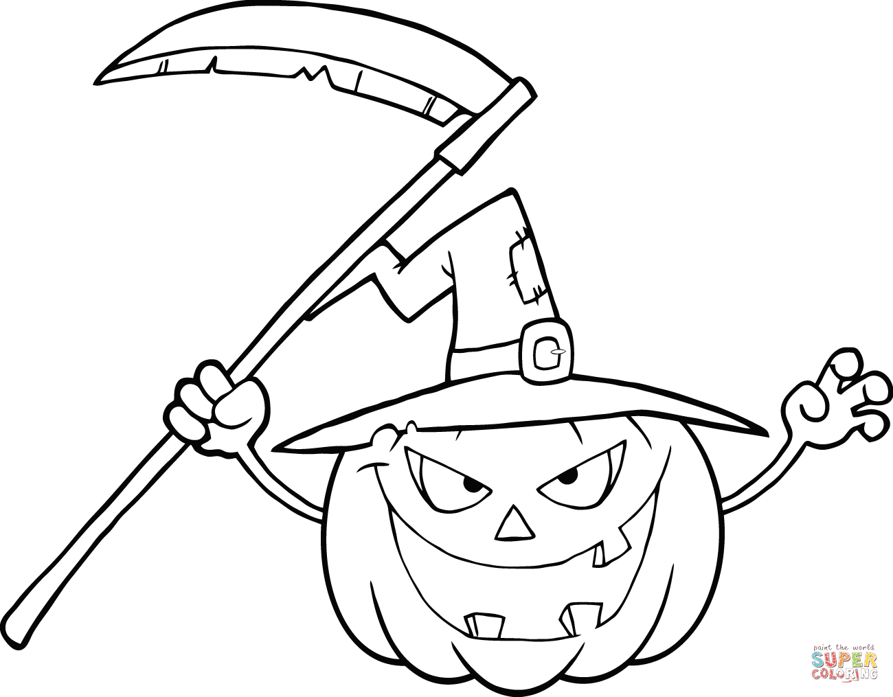Halloween Pumpkin With Scythe Coloring Page