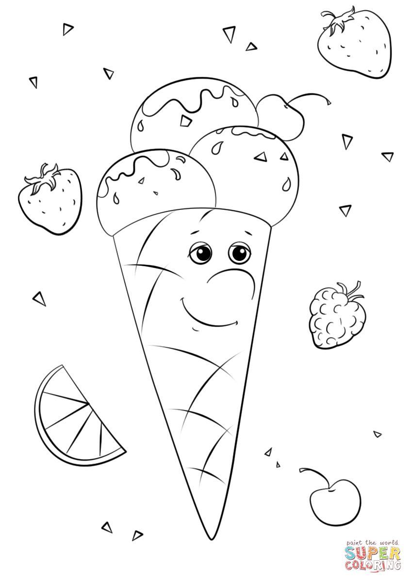 Jäätelöhahmo värityskuva