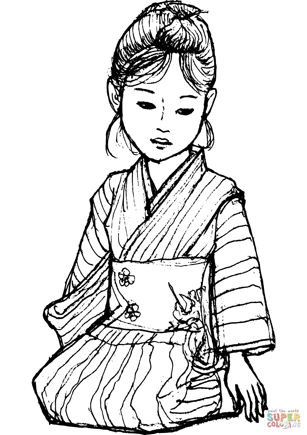 Japanese Girl In Kimono Coloring Page