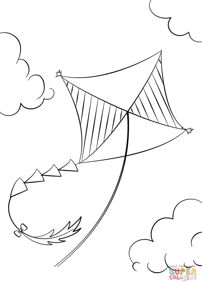 Kite Flying Coloring Page Free Printable Coloring Pages