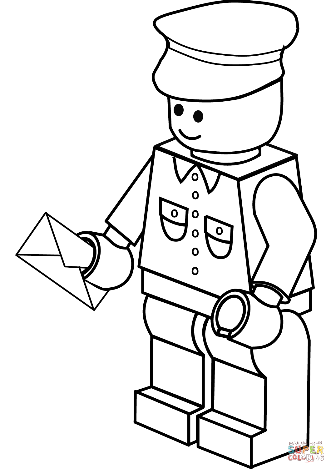 Lego Postman Coloring Page