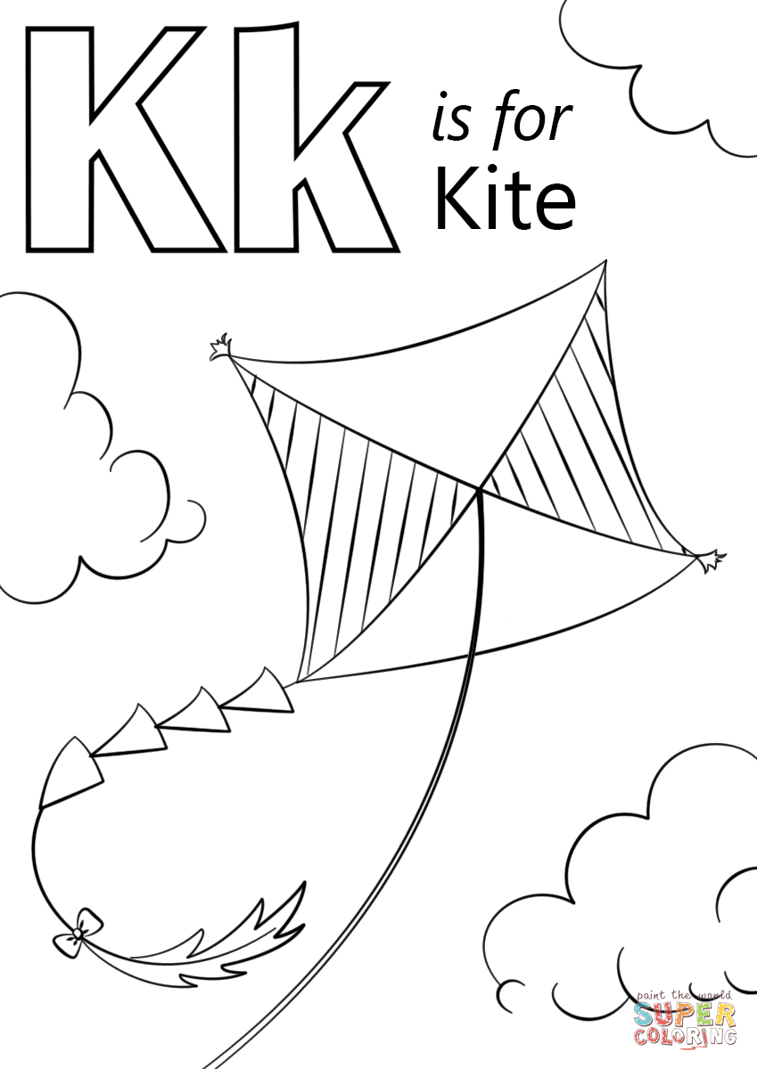 K Is For Kite Coloring Page Free Printable Coloring Pages