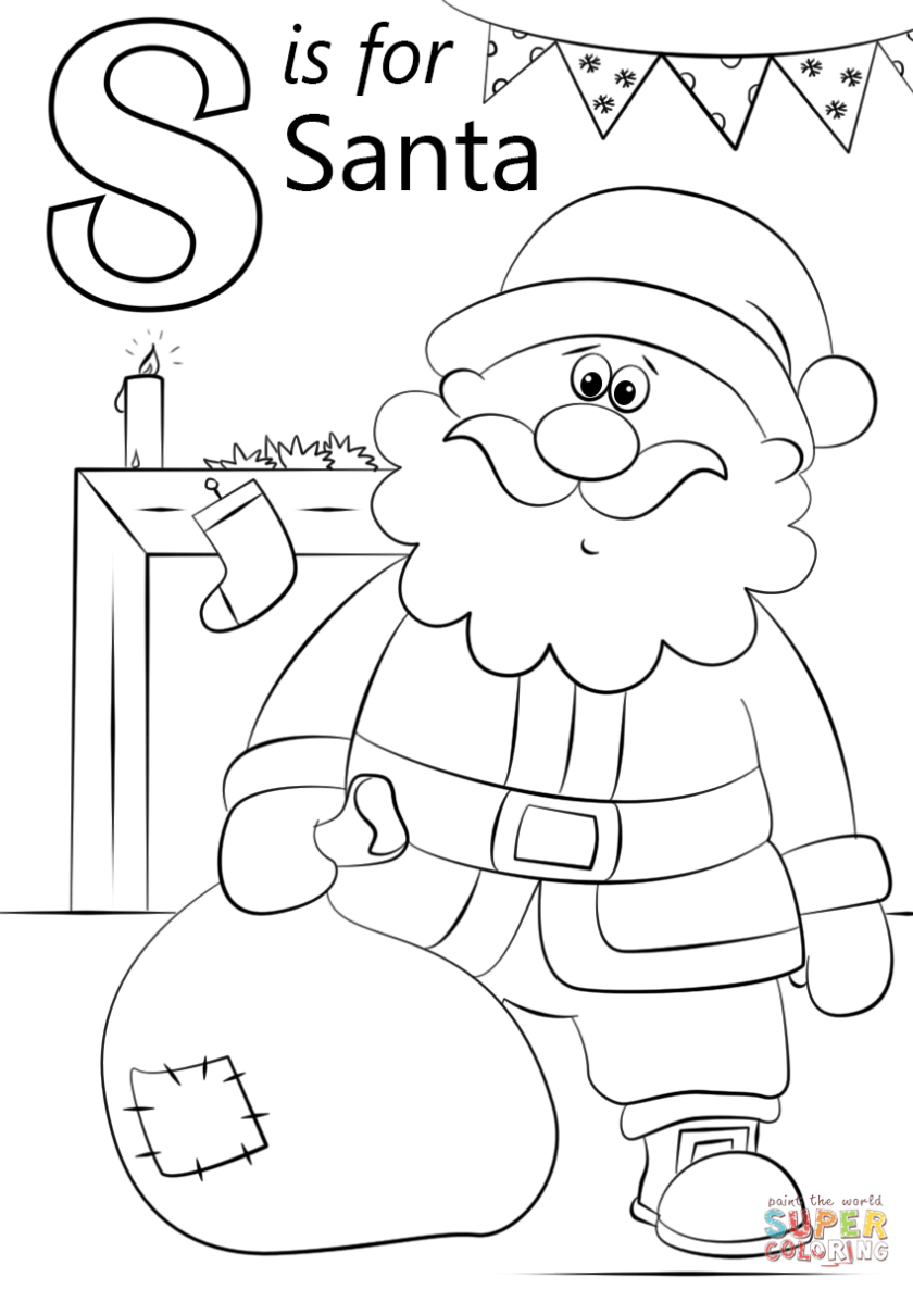 letter s is for santa coloring page  free printable