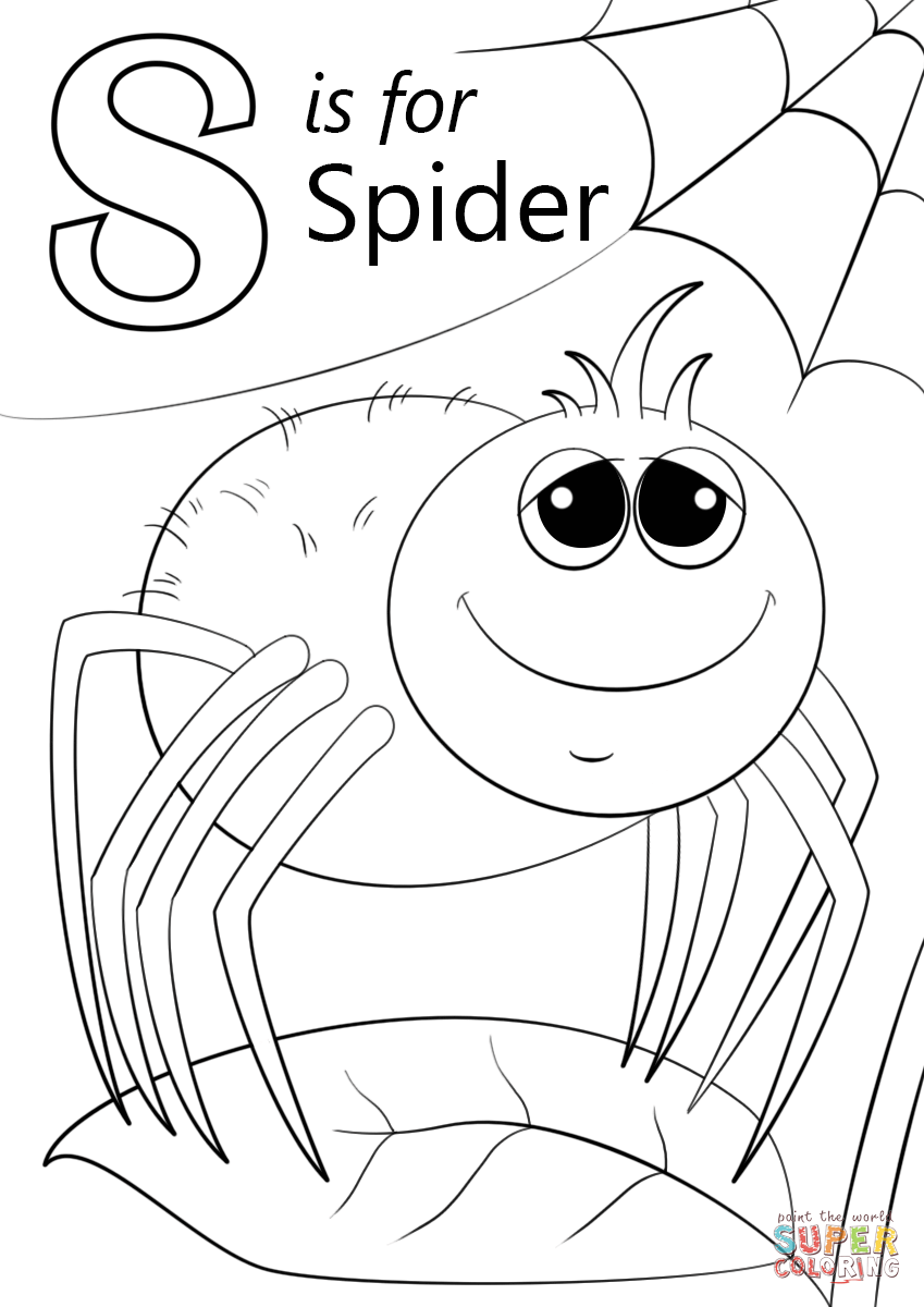 Letter S Is For Spider Coloring Page Free Printable Coloring Pages