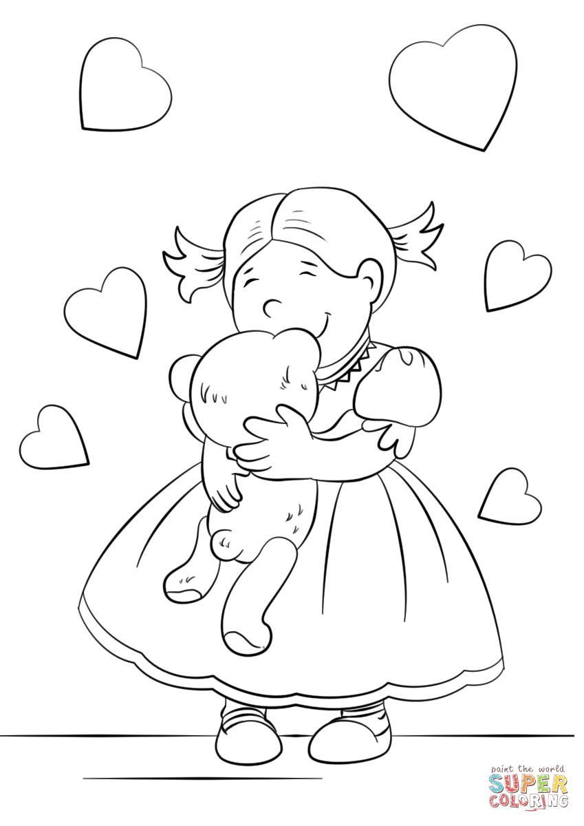 Dibujo de Niña Linda abrazando un osito de peluche para