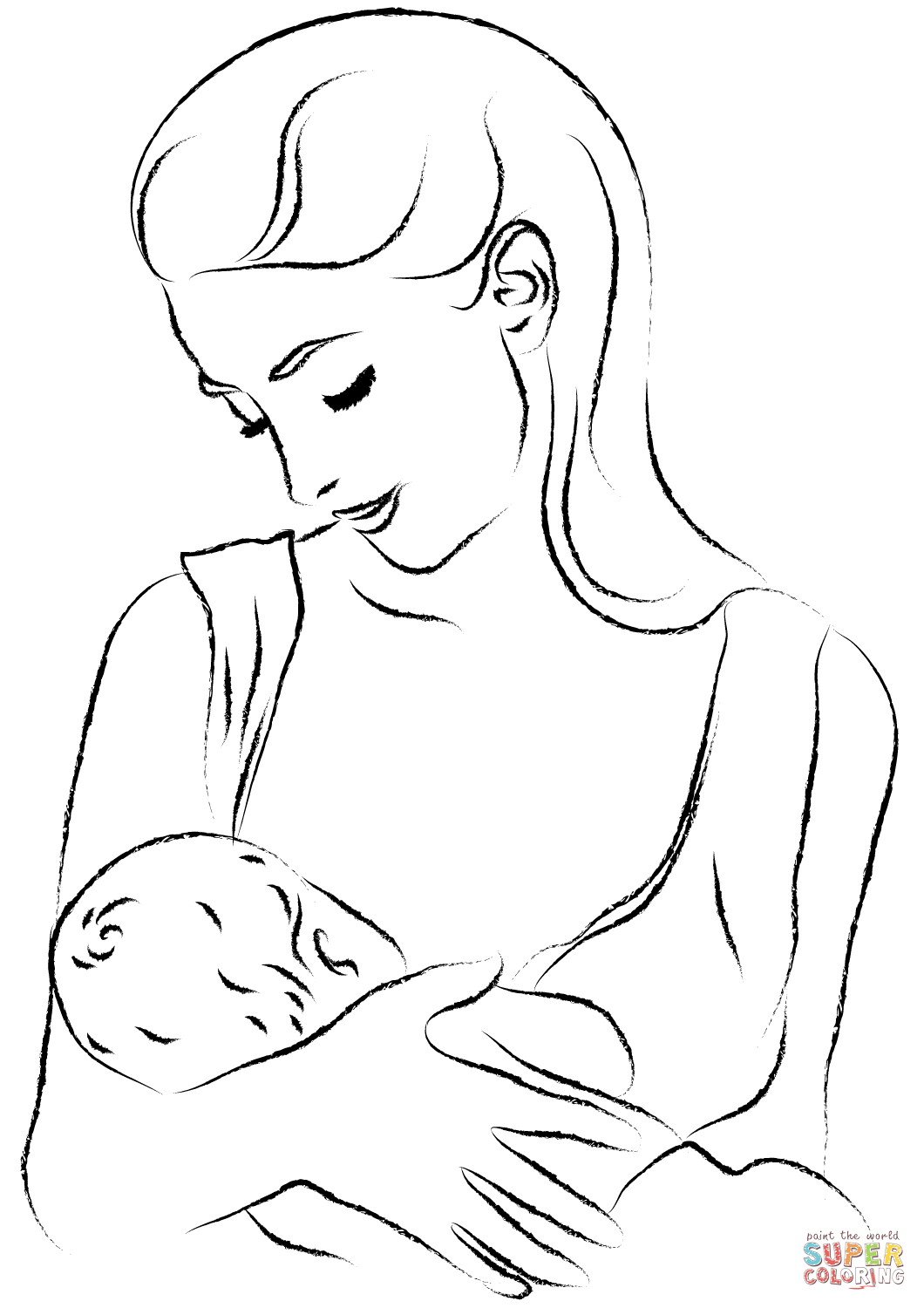 Mom Is Breastfeeding Coloring Page