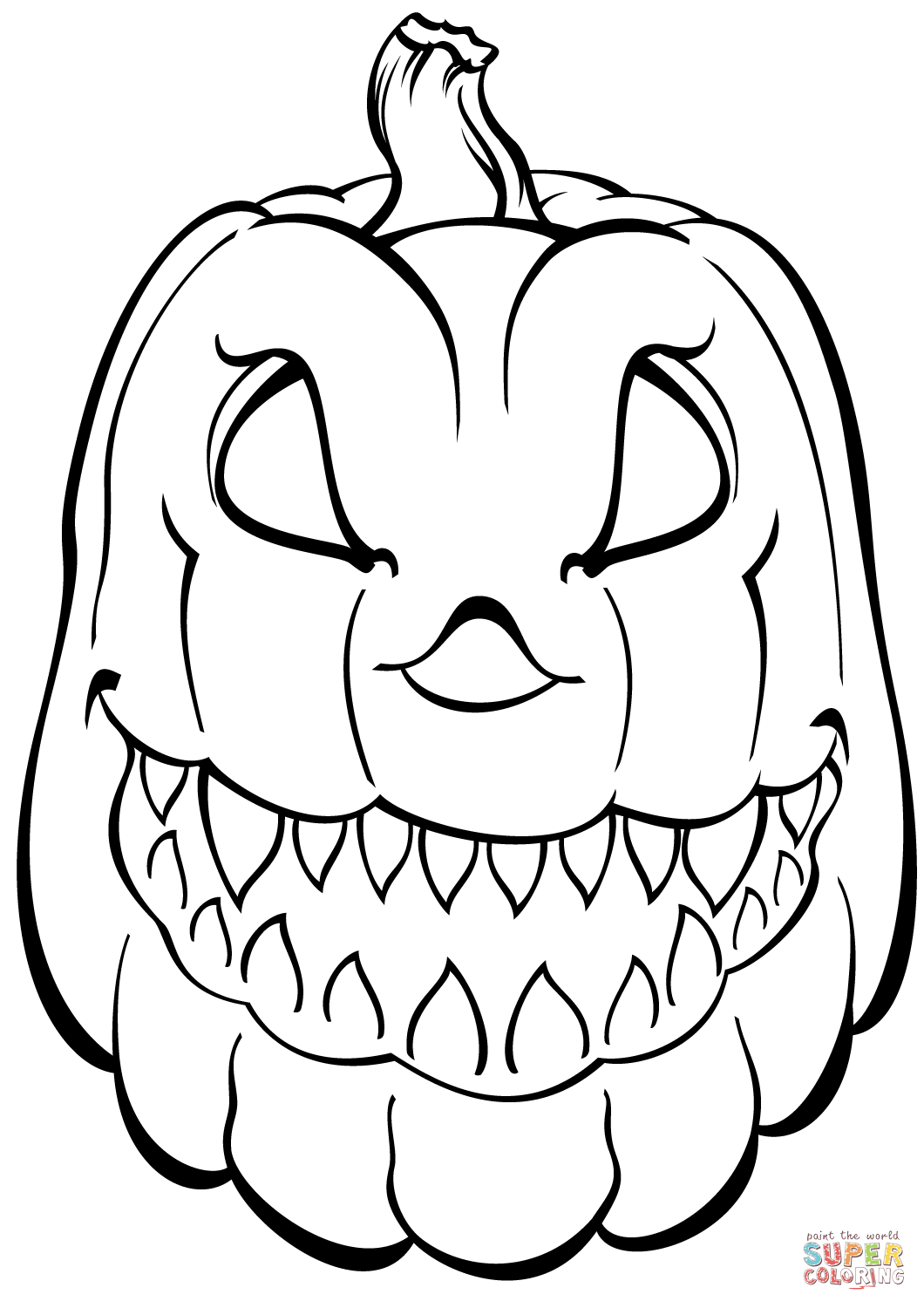 Scary Pumpkin Coloring Page