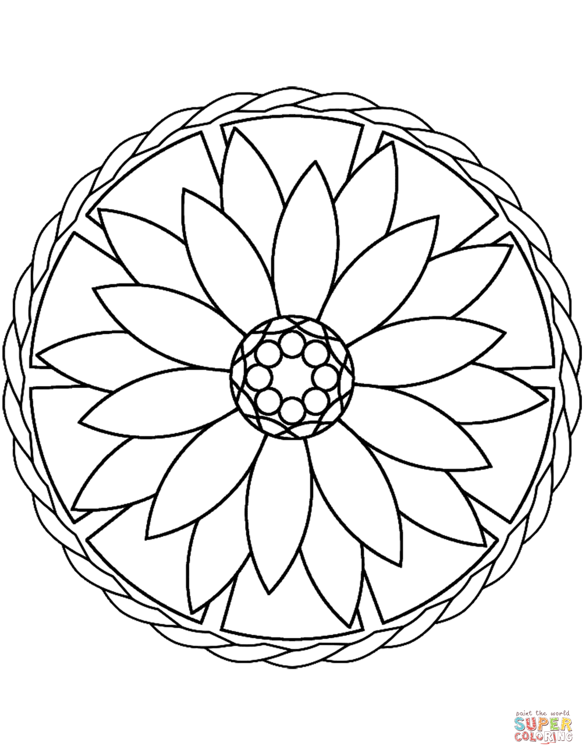 Simple Mandala With Flower Coloring Page