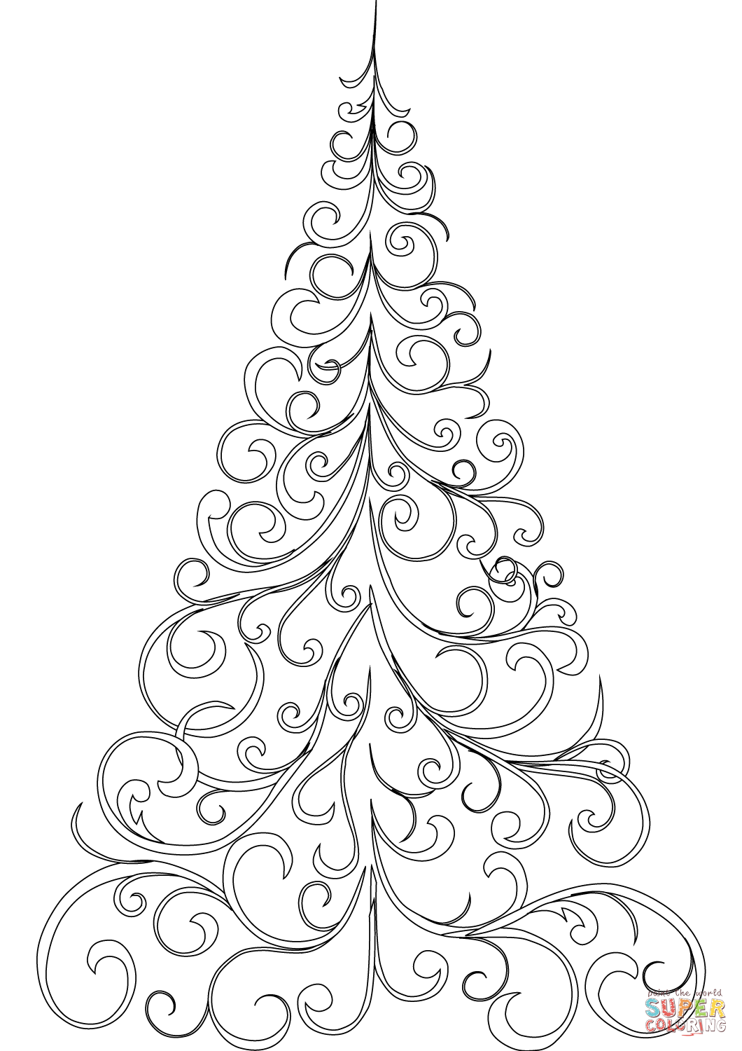 Swirly Christmas Tree Coloring Page