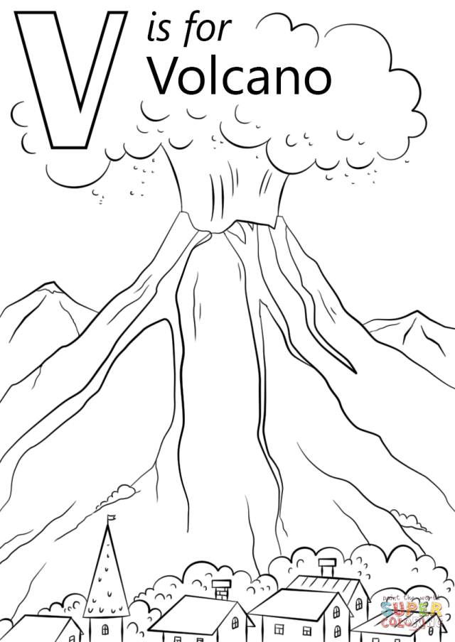 V is for Volcano coloring page  Free Printable Coloring Pages