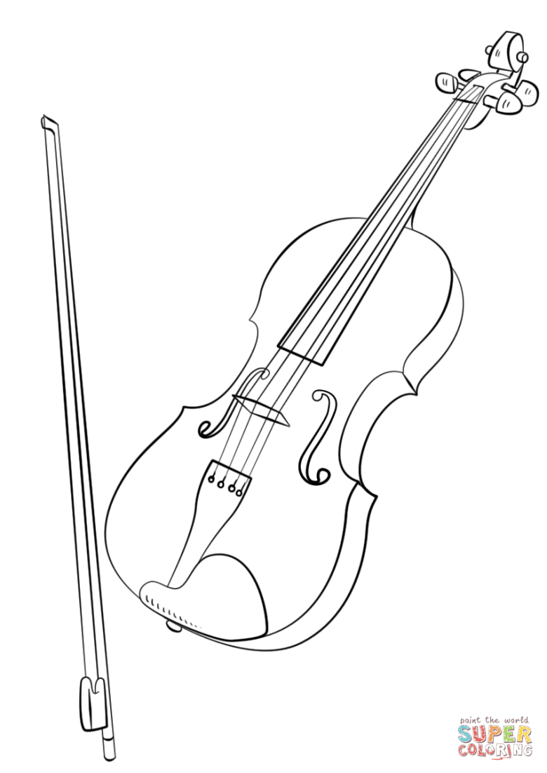 violin and bow coloring page | free printable coloring pages