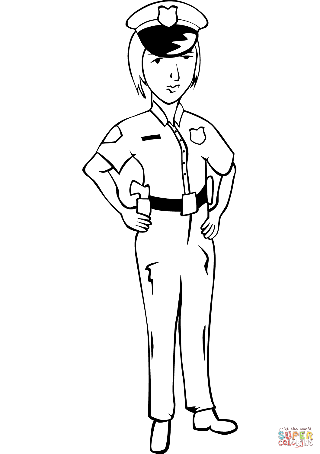 Woman Police Officer Coloring Page