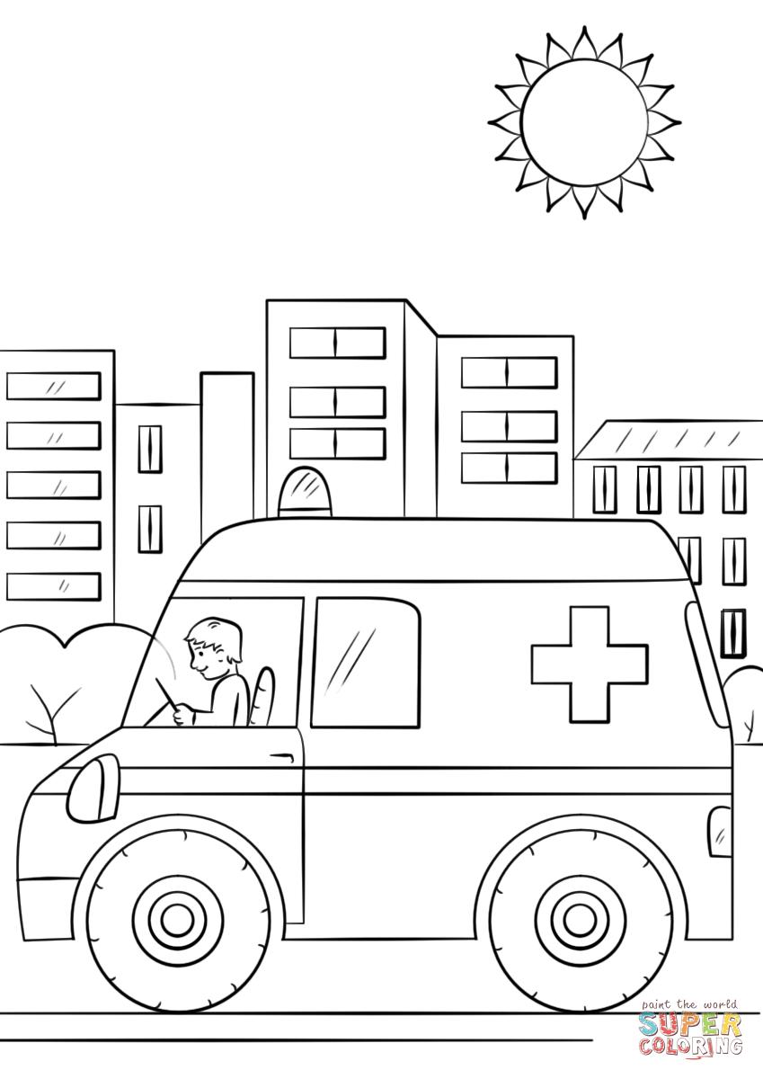 Cartoon Ambulance Car Coloring Page Free Printable Coloring Pages