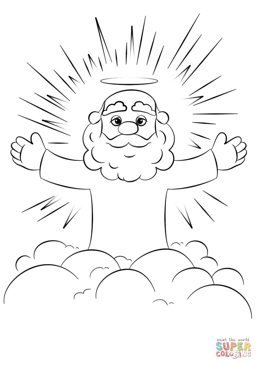 Dibujo de Dios de la historieta en una nube para colorear