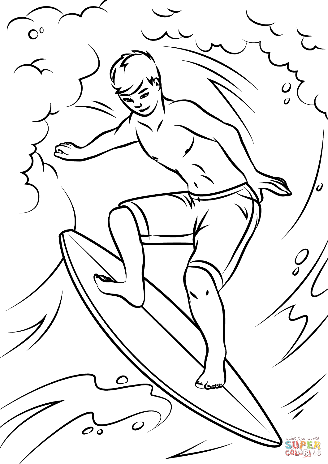 Cool Surfer Coloring Page