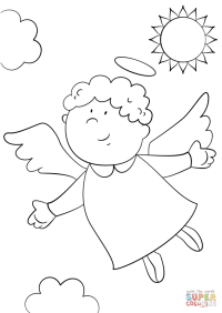 Cute Angel coloring page | Free Printable Coloring Pages