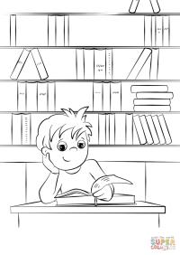 Dibujo de Cute Boy Lee un libro en la biblioteca para ...