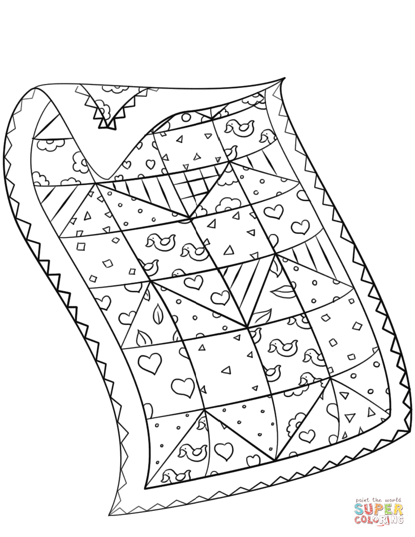 Quilt Coloring Page Print