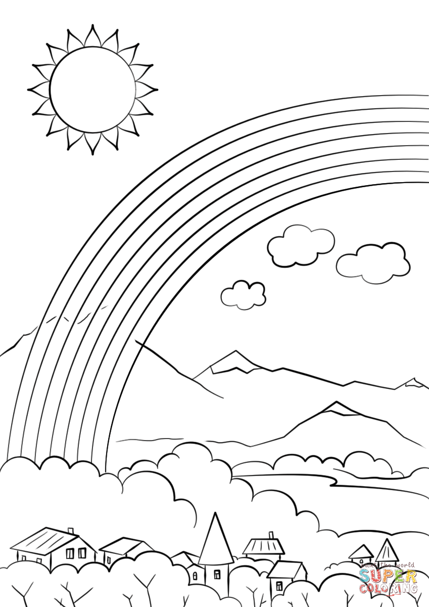 Rainbow Over The City Coloring Page Free Printable Coloring Pages