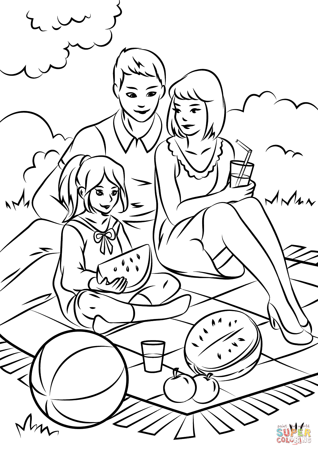Family Picnic Coloring Page