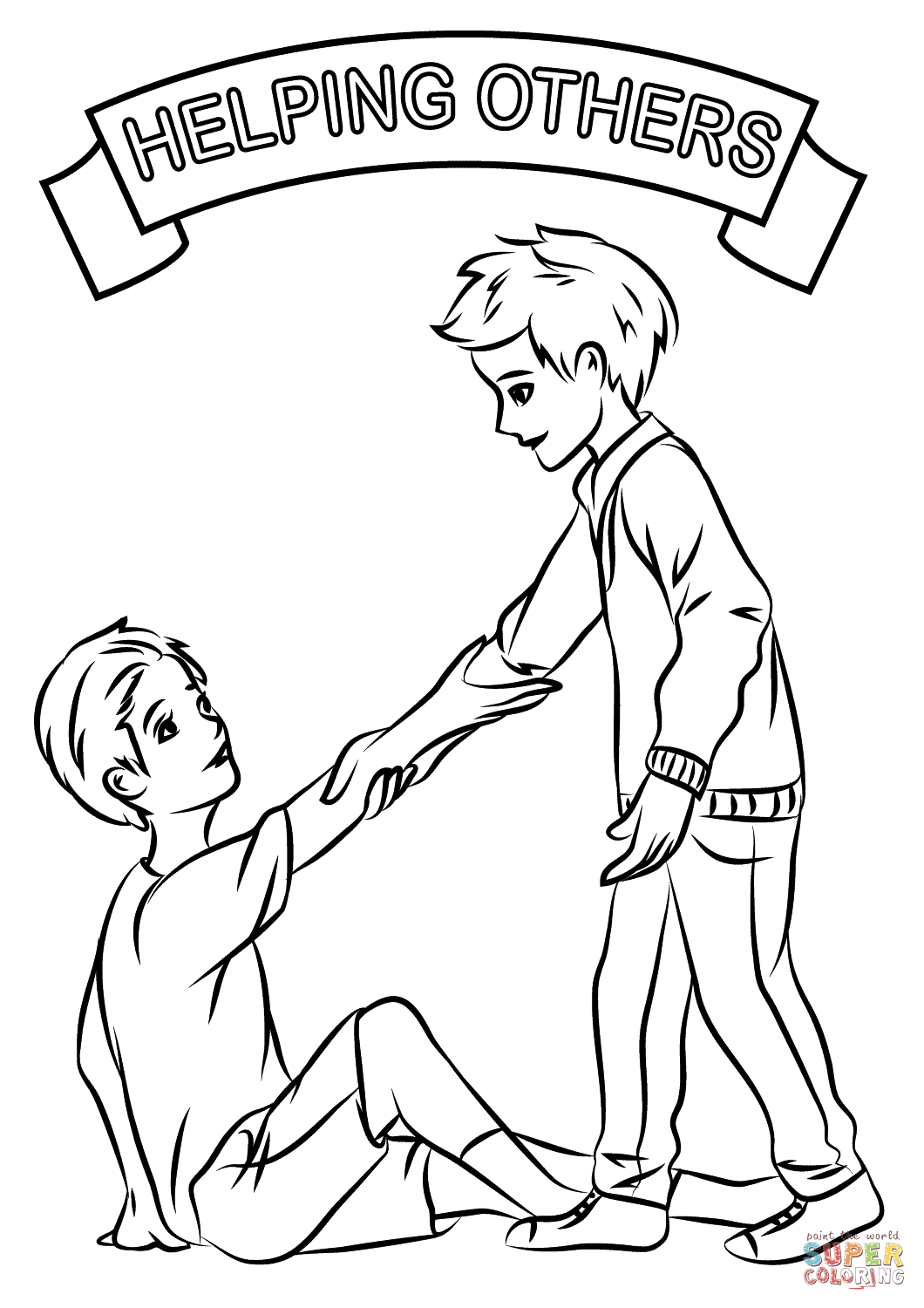Helping Each Other Coloring Page