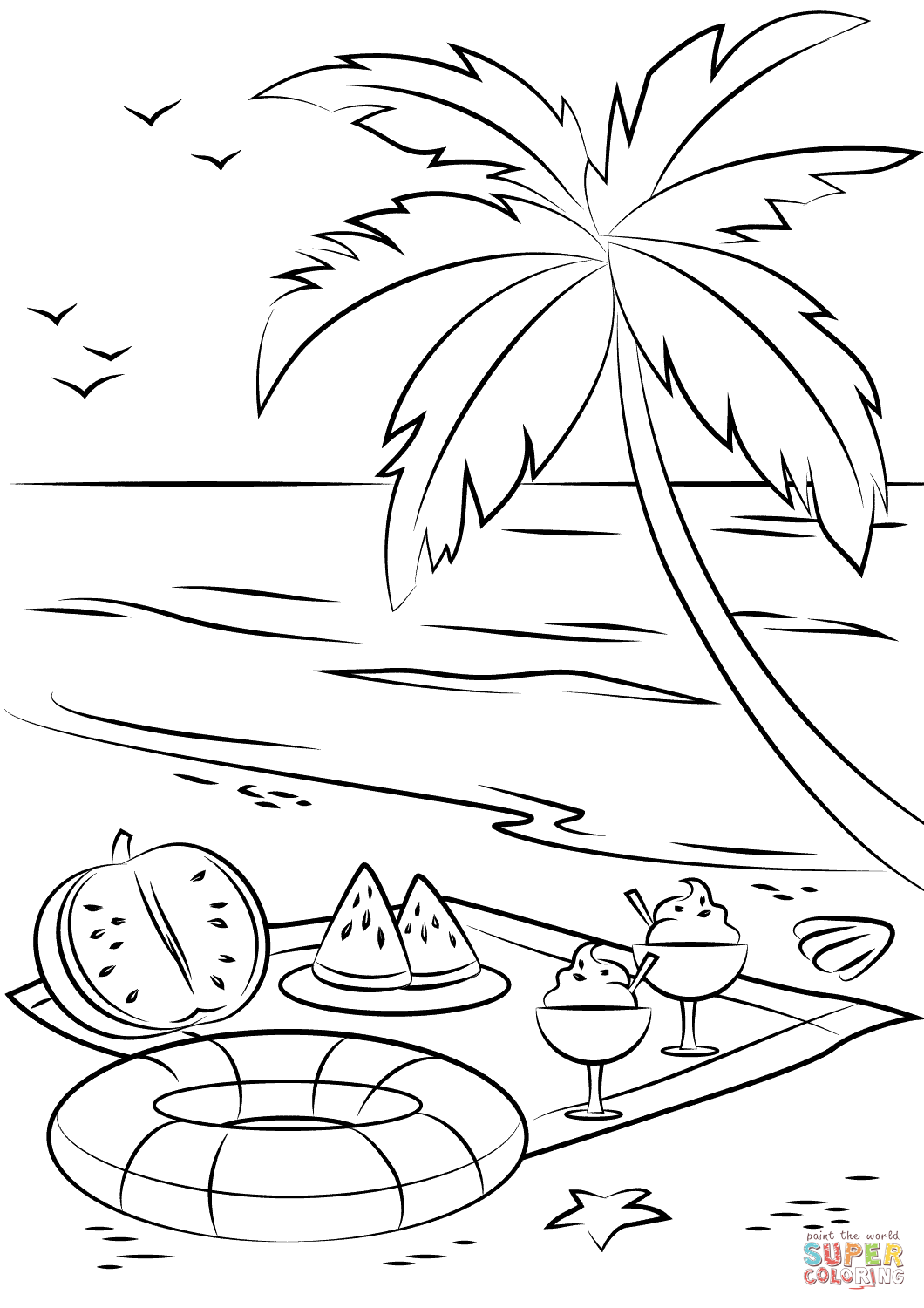 Summer Beach Picnic Coloring Page