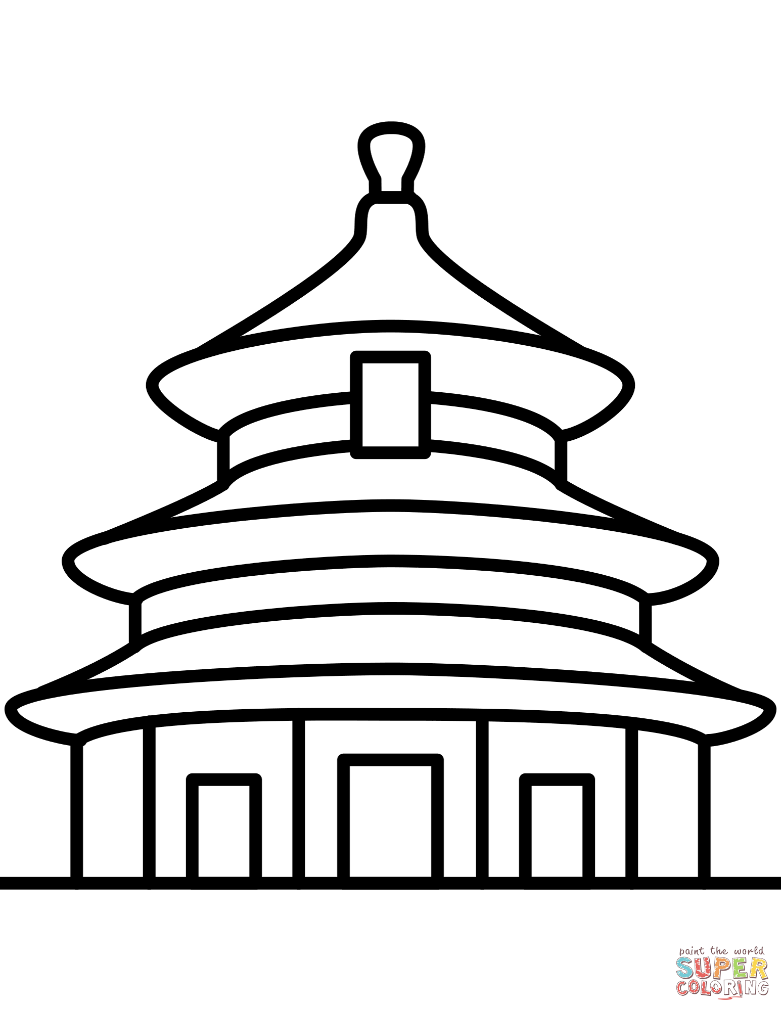 Temple Of Heaven In Beijing Coloring Page