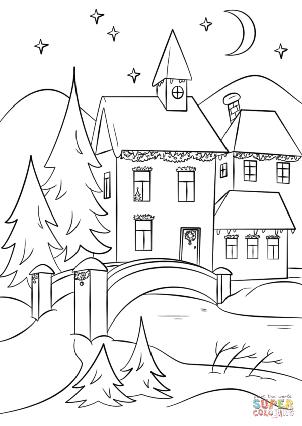 Winter Village coloring page Free Printable Coloring Pages