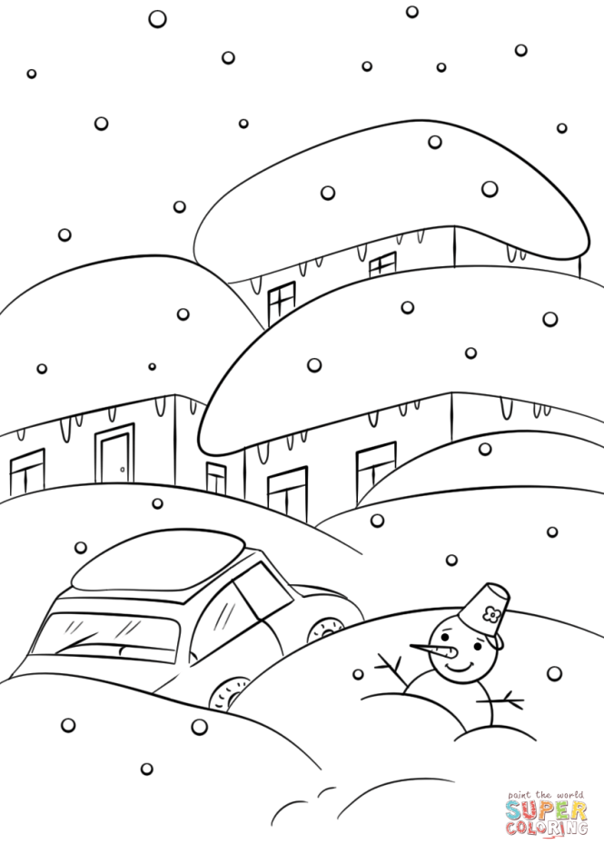 winter weather coloring page free printable pages - Weather Coloring Pages