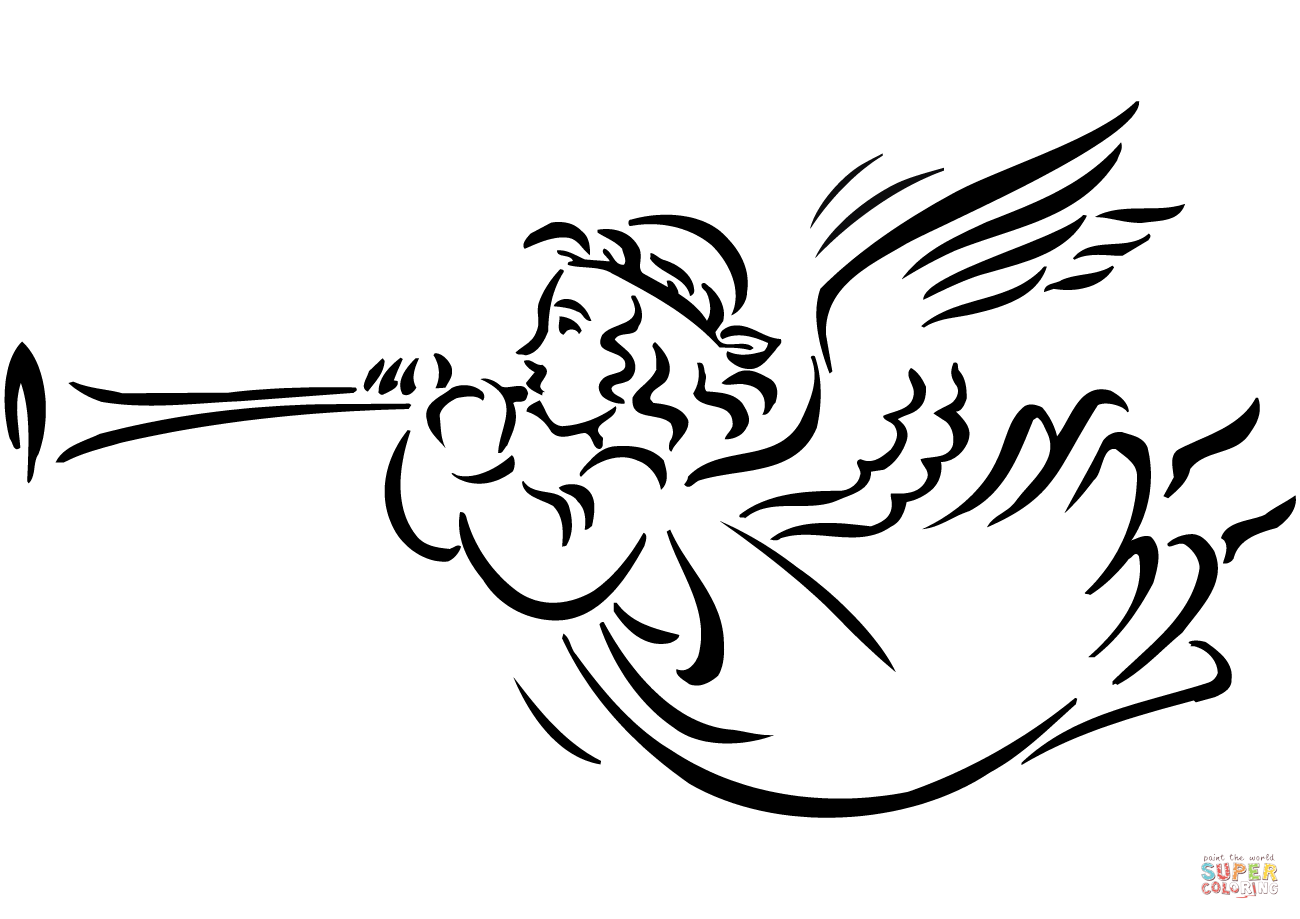Christmas Angel Blowing Horn Coloring Page