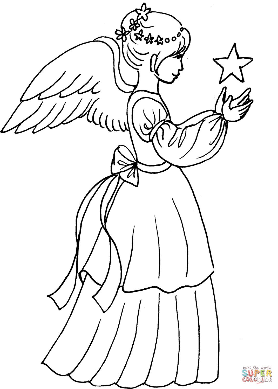 Christmas Angel Girl With Star Coloring Page Free Printable