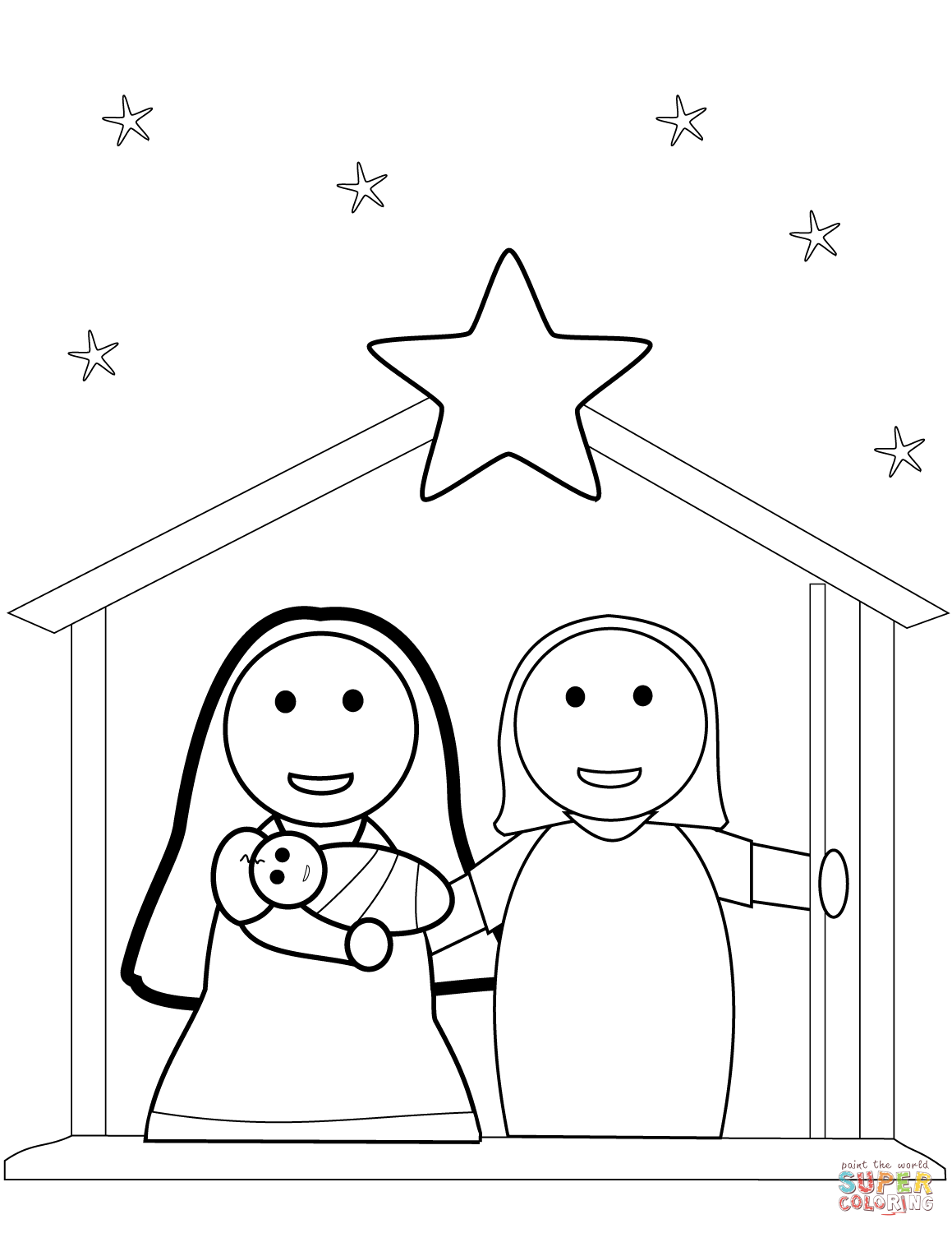 Christmas Nativity Scene Coloring Page