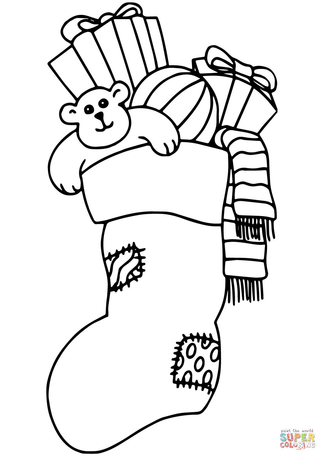 Christmas Stocking Filled With Gifts Coloring Page Free
