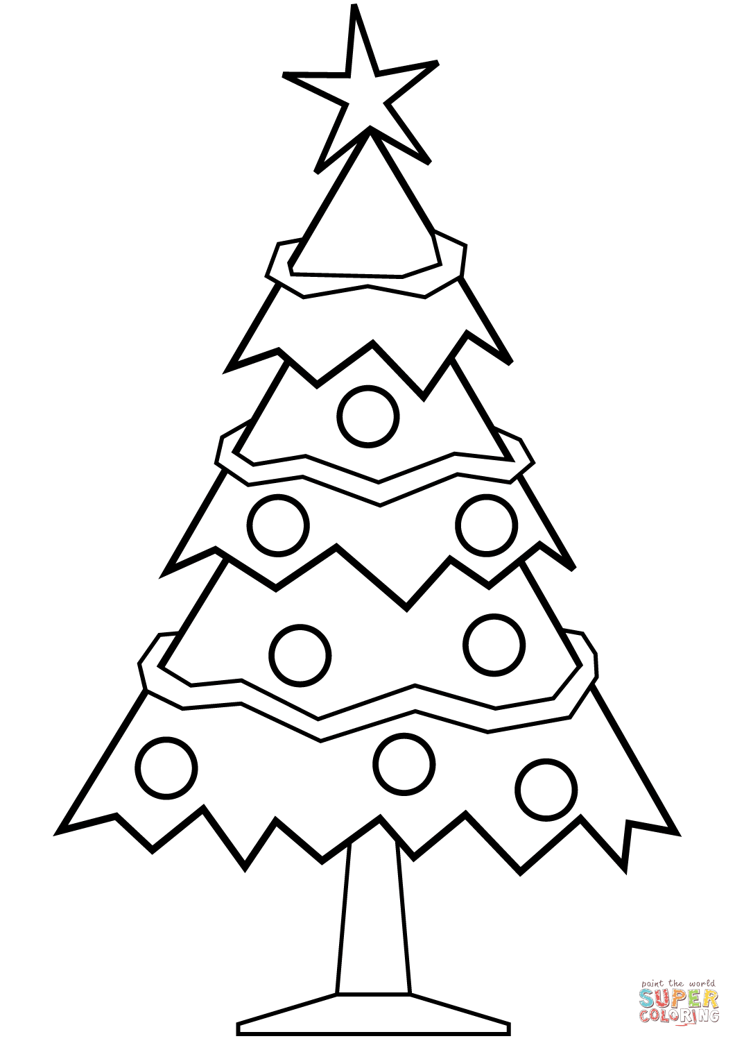 simple christmas tree coloring pages dessincoloriage