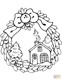 Christmas Wreath with Gingerbread House coloring page ...