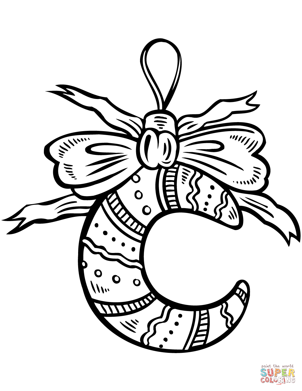 Crescent Moon Christmas Ornament Coloring Page Free
