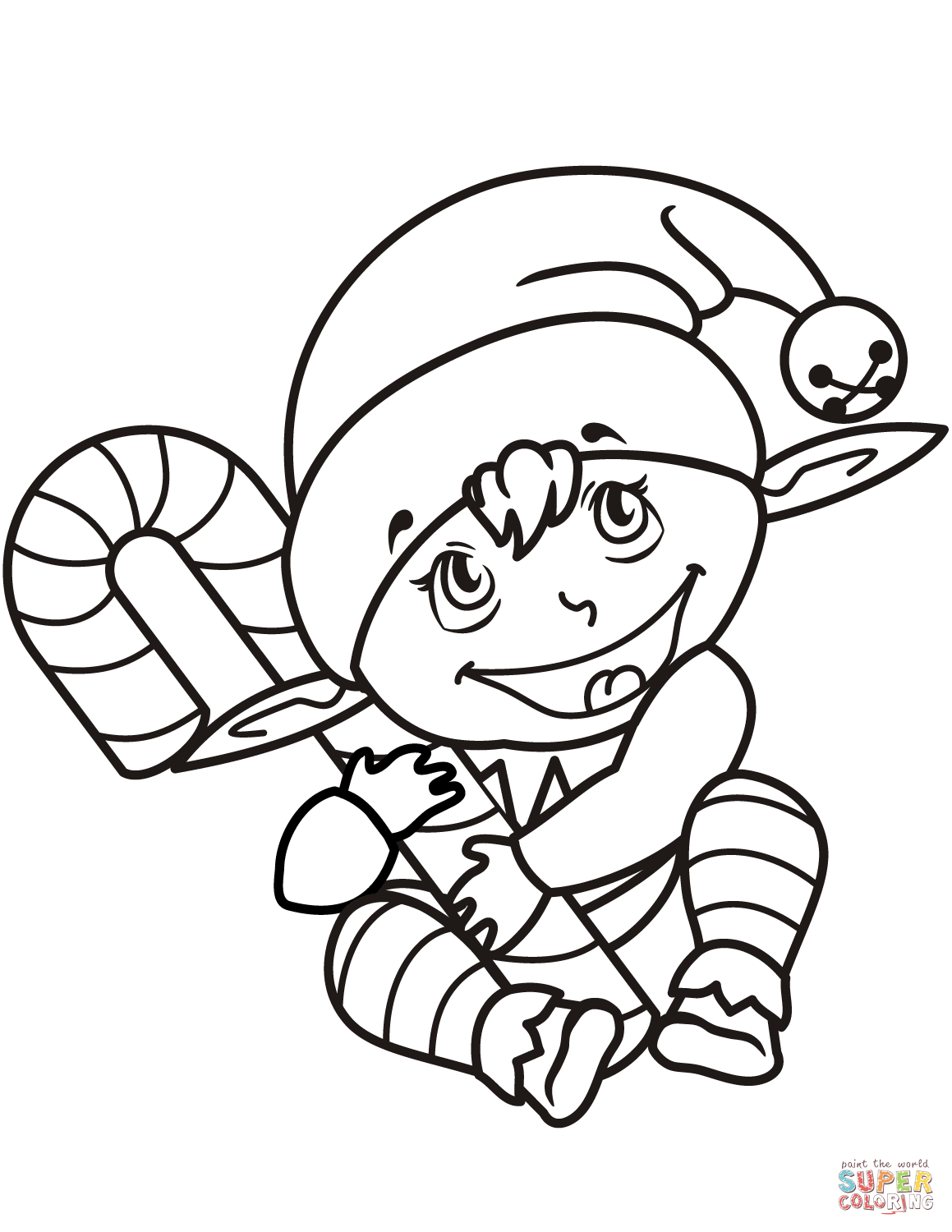 Cute Christmas Elf With Candy Cane Coloring Page