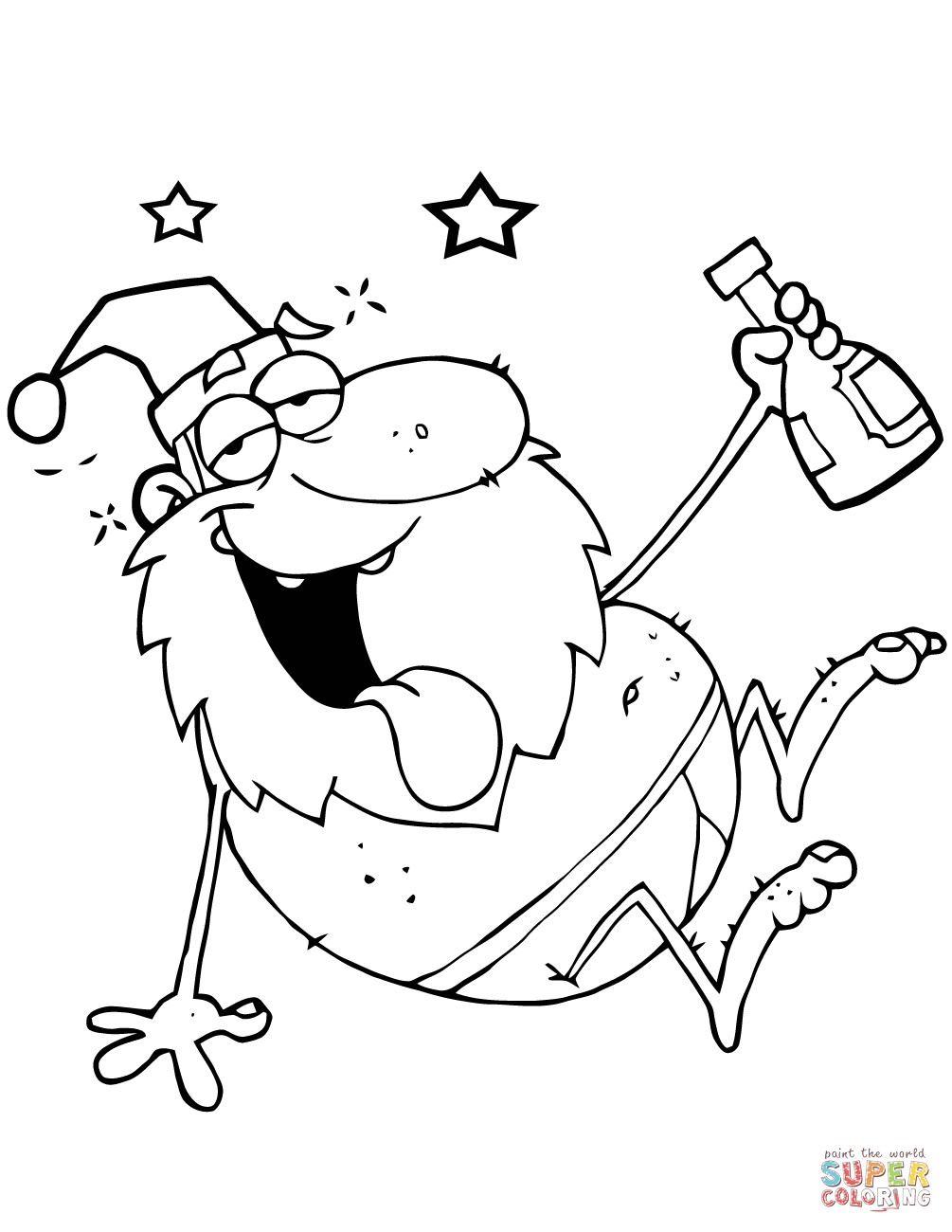 Drunk Santa Claus Coloring Page Free Printable Coloring Pages