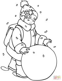 Dibujo de Nia rueda una bola de nieve para colorear