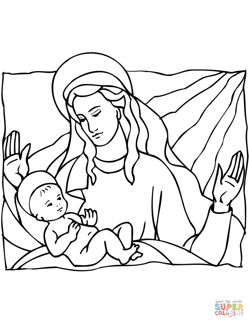 mary and baby jesus coloring page  free printable