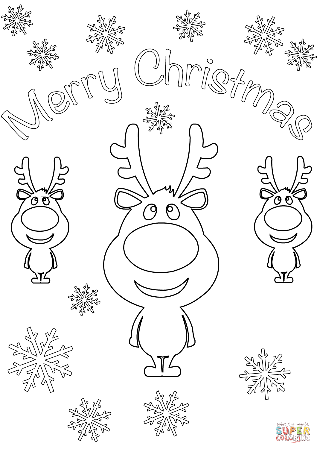 Merry Christmas Card With Cartoon Reindeers Coloring Page Free