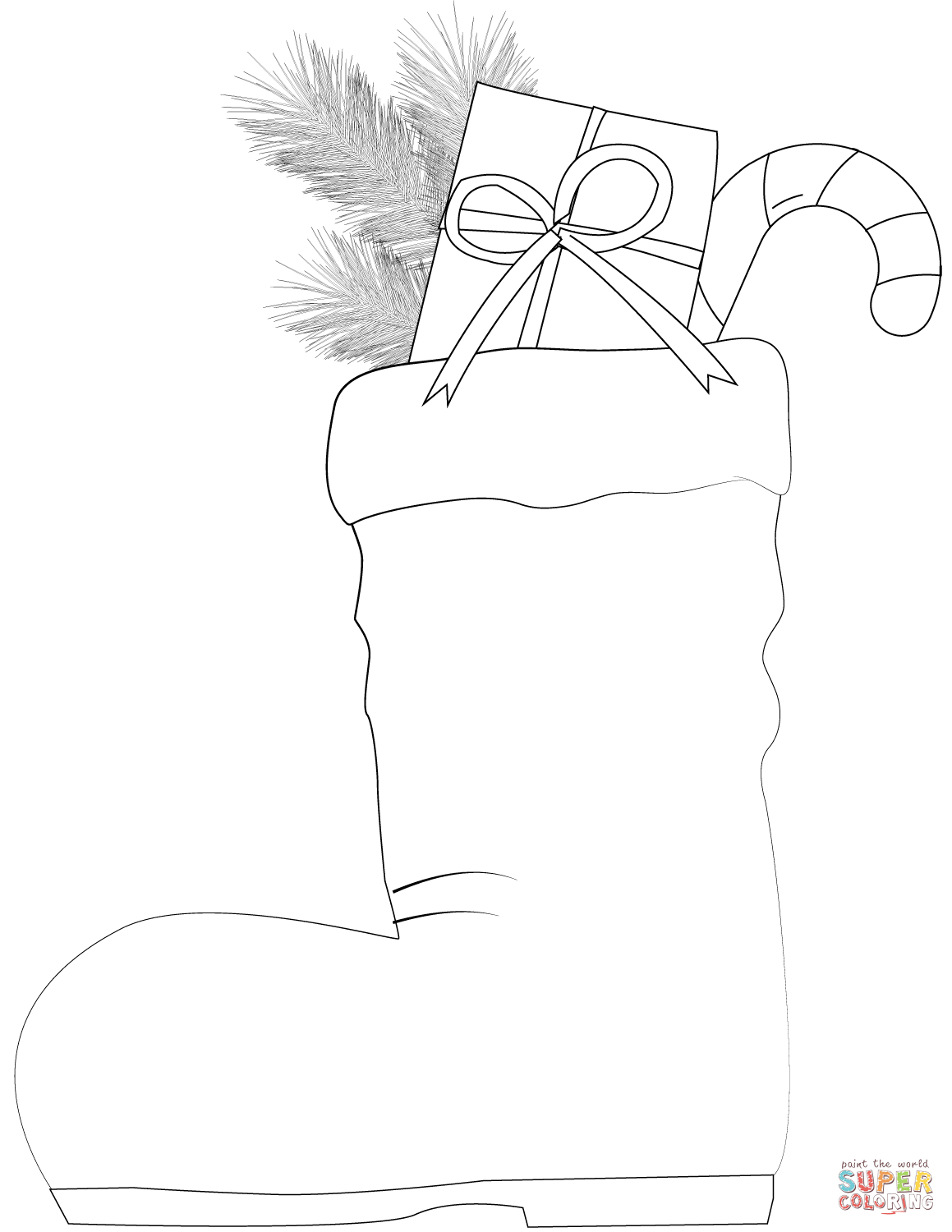 Santa Boots With Sweets Coloring Page