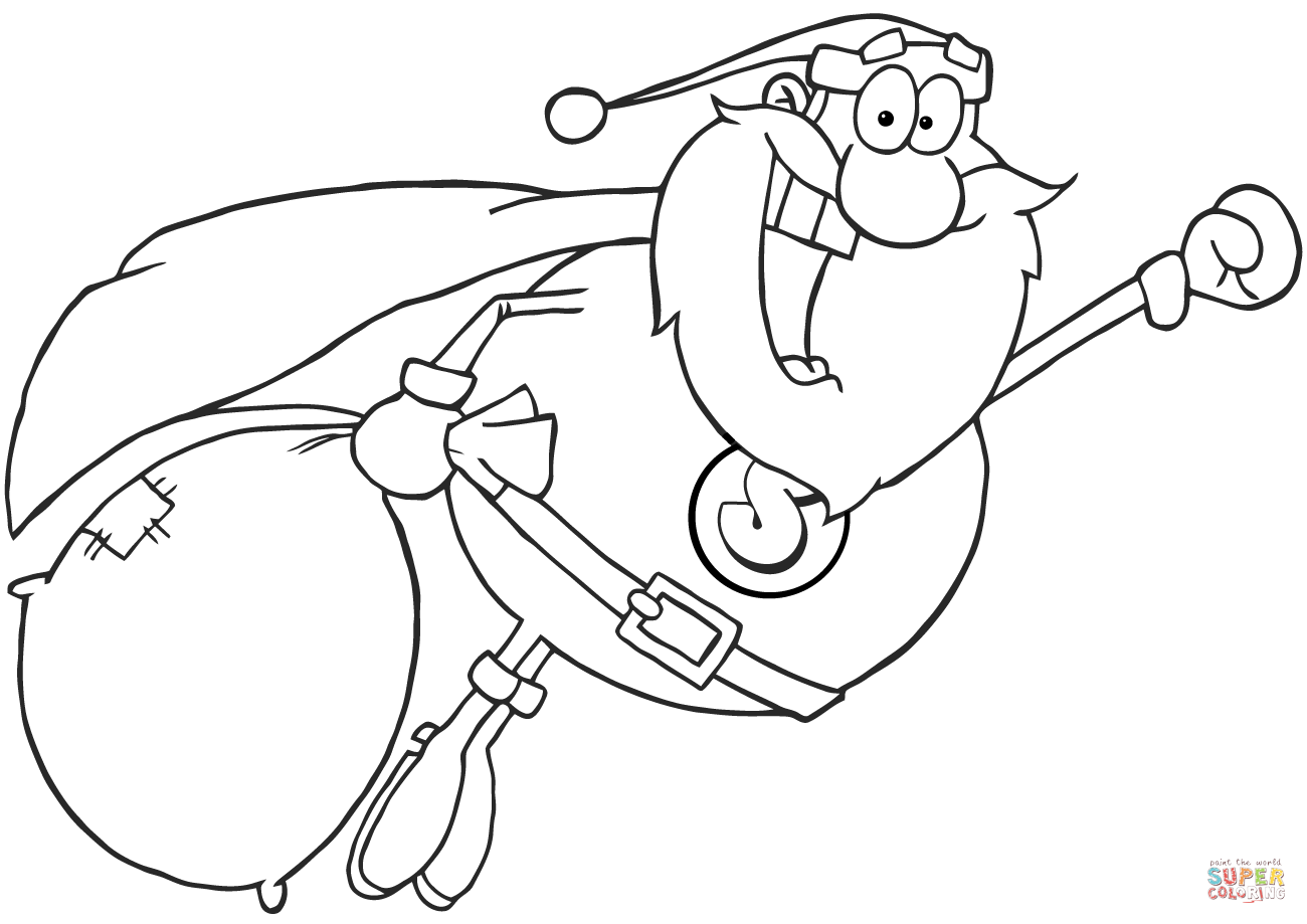 Super Santa Claus Fly Coloring Page