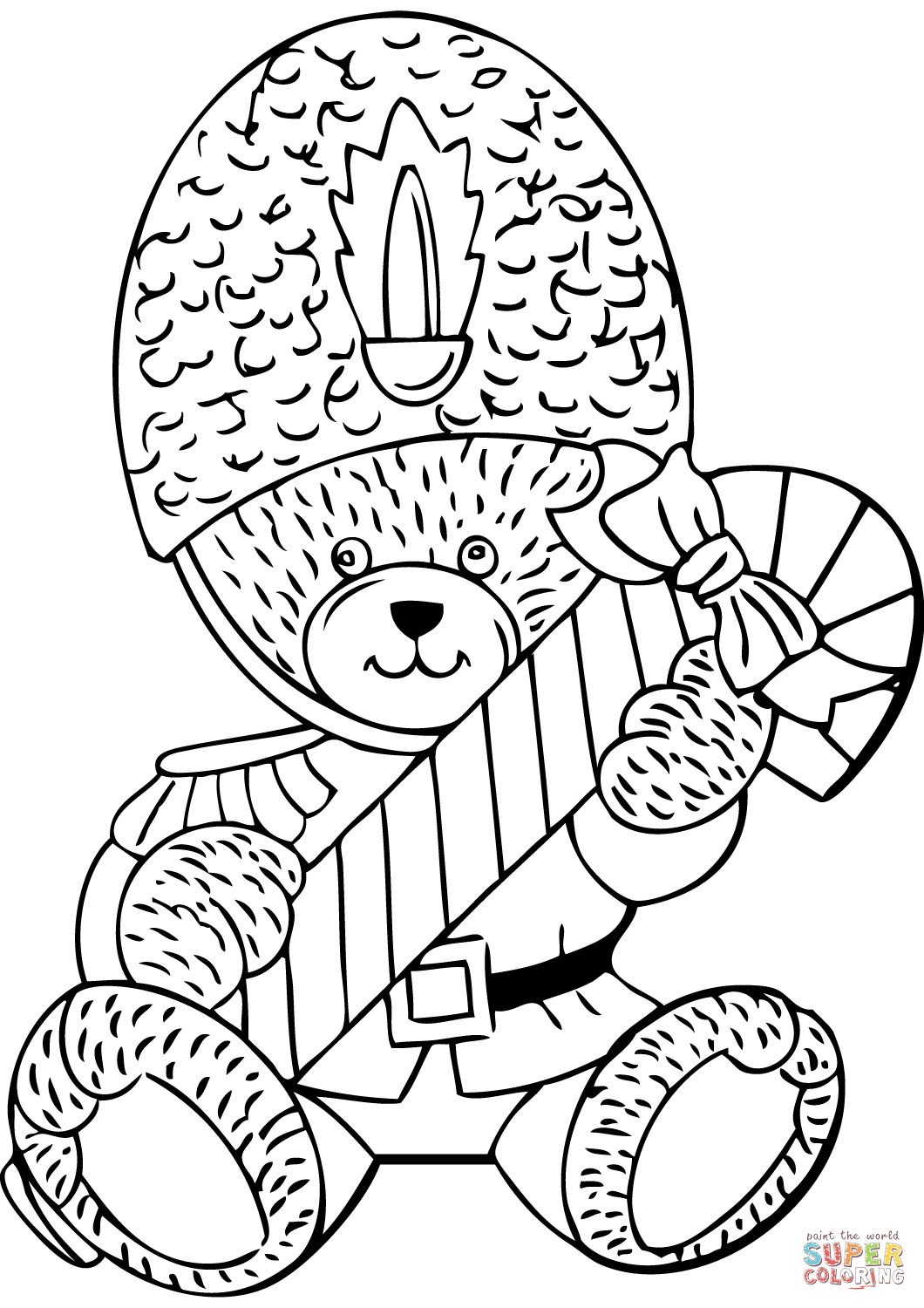 Teddy Bear With Candy Cane Coloring Page Free Printable Coloring