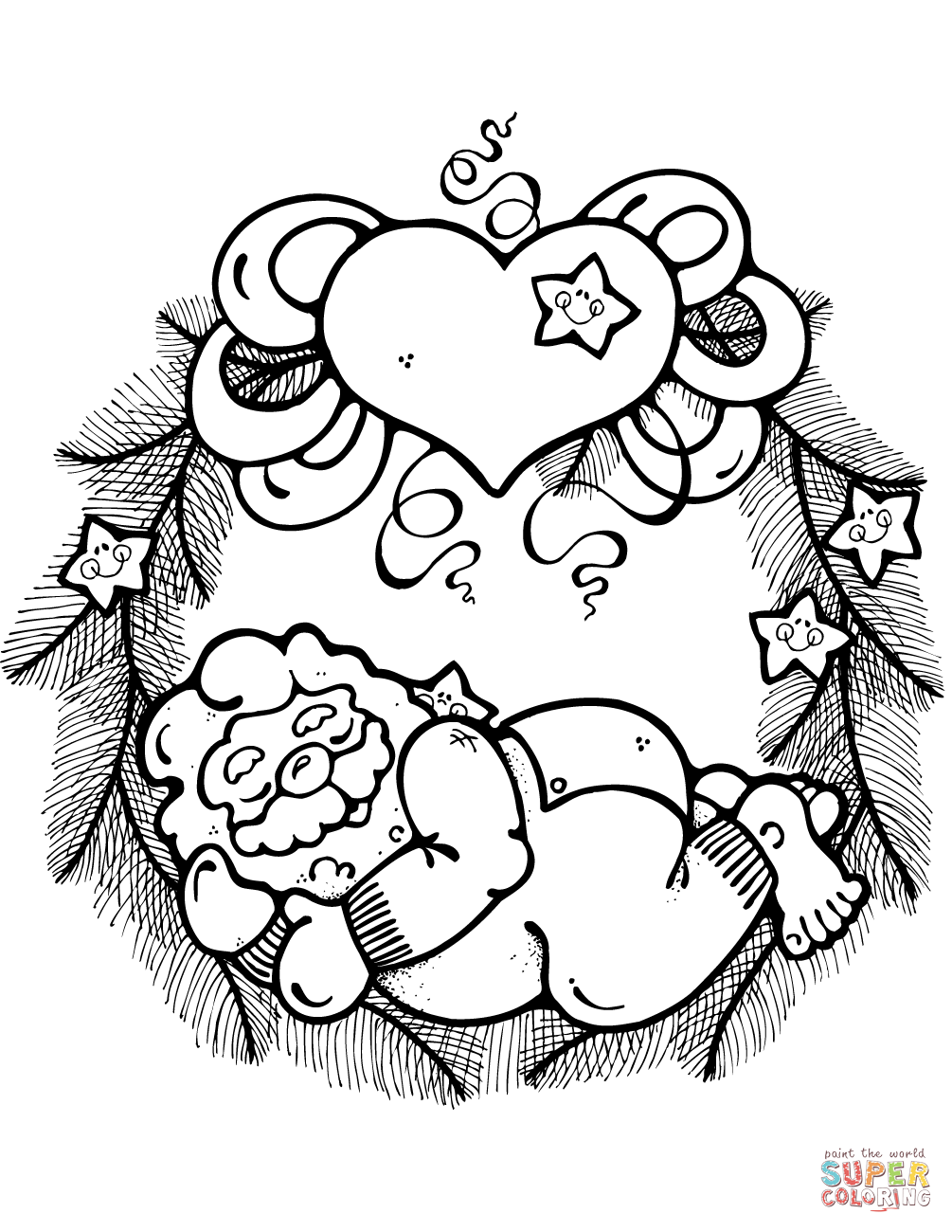 Wreath With Sleeping Santa Claus Decorated With Hearts And Stars