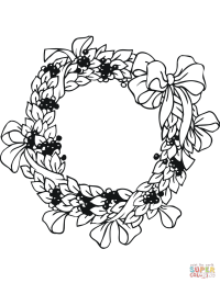 Xmas Wreath coloring page   Free Printable Coloring Pages